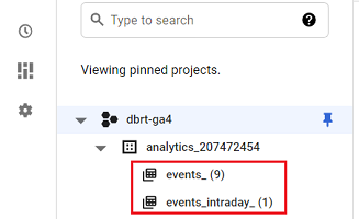 connect google analytics 4 with bigquery data set contains the following two data tables 1