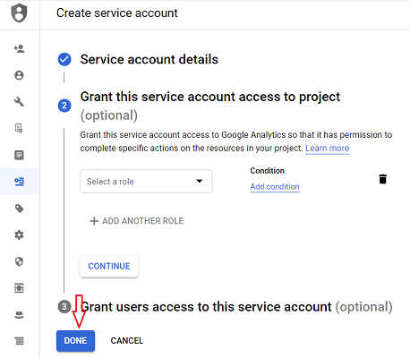 connect google analytics 4 with bigquery done service account