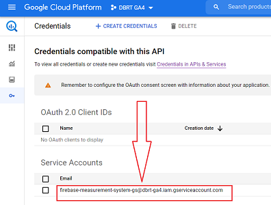 connect google analytics 4 with bigquery new service account listed