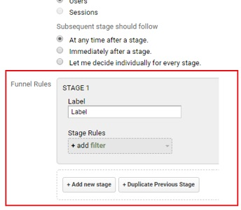 custom funnel rules analytics 360