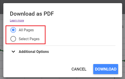 download all the pages of your report or only specific pages
