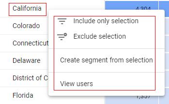 exploration report filter segment