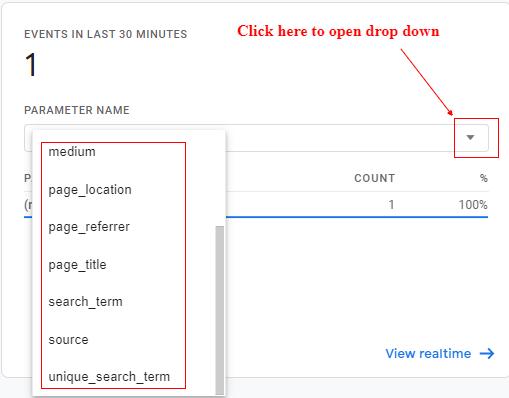ga4 site search tracking dropdown