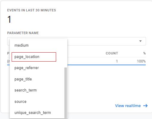 ga4 site search tracking location