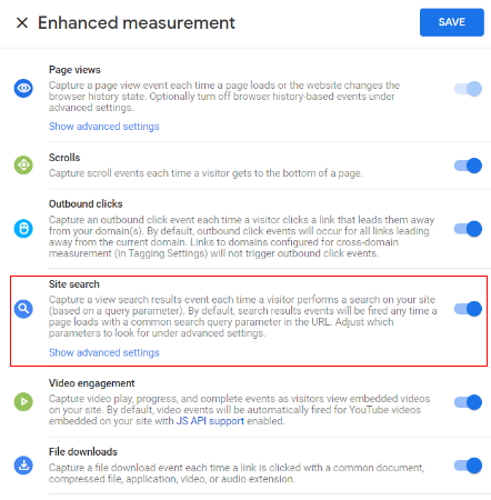 ga4 site search tracking toggle icon