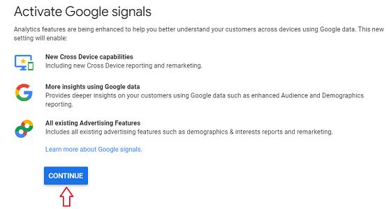 google signals demographics Continue 2