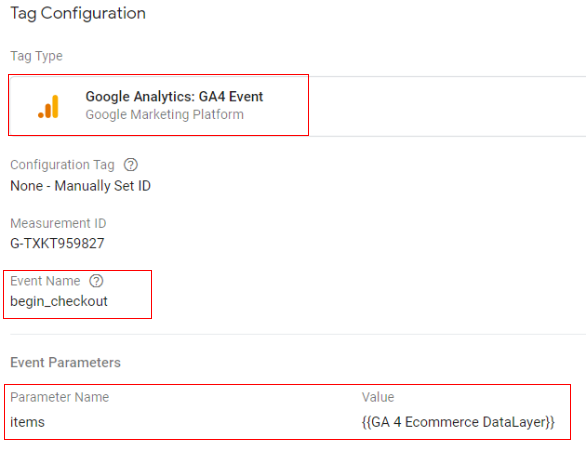 gtm ecommerce tracking checkout config