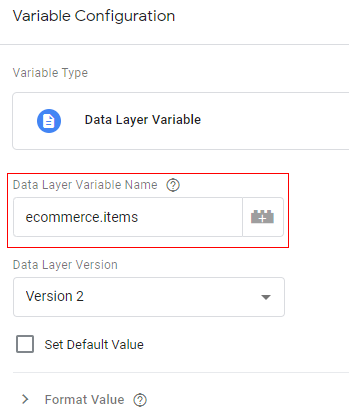 gtm ecommerce tracking data layer name