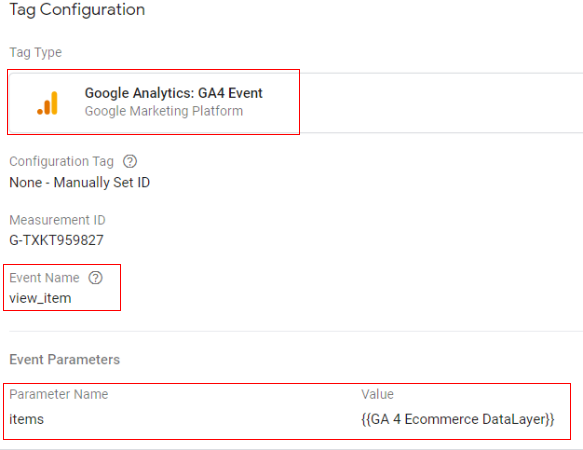 gtm ecommerce tracking google tag config
