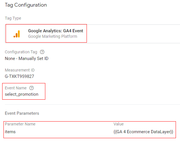 gtm ecommerce tracking promotion config