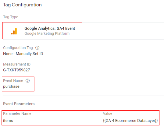 gtm ecommerce tracking purchase tag