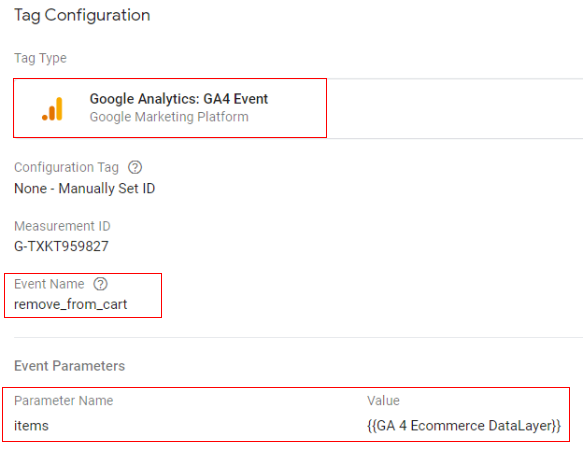 gtm ecommerce tracking removecart config