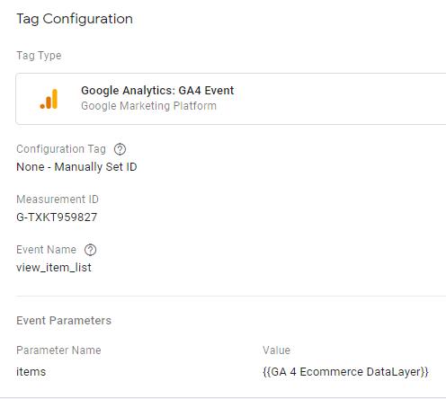 gtm ecommerce tracking tag congigu
