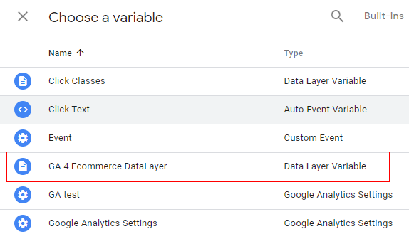 gtm ecommerce tracking variables