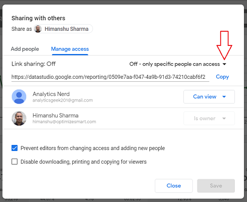 link sharing off google data studio