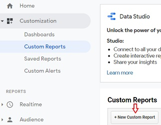 new custom report google analytics