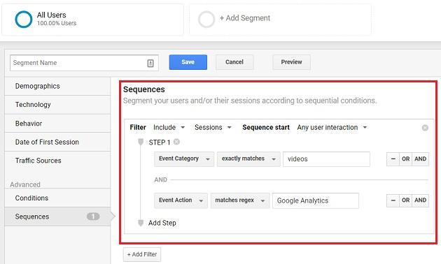 sequences in advanced segments google analytics