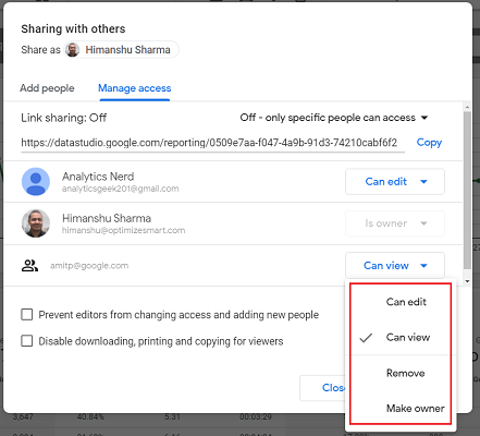 user permission to Can edit or Make Owner data studio