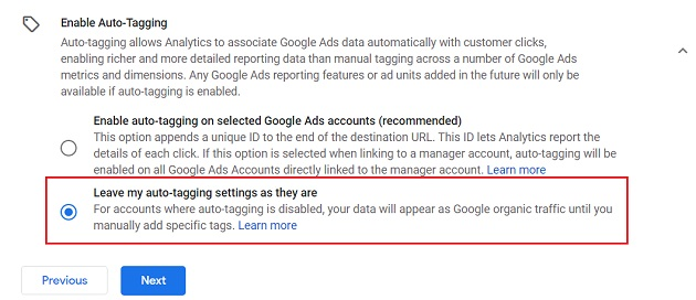 Leave my auto tagging settings as they are