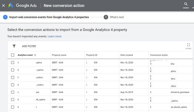 Select the conversion actions to import from a Google Analytics 4 property