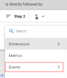 custom audiences select events