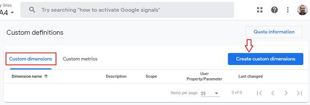 ga4 user properties Create Custom Dimensions ga4