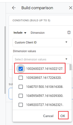 ga4 user properties Select one of the client ID