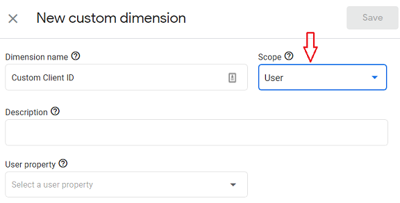 ga4 user properties Set the dimension scope to User