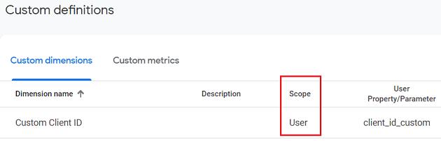 ga4 user properties new custom dimension listed