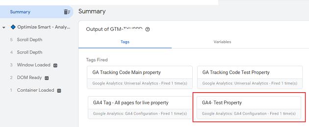 google analytics 4 test property