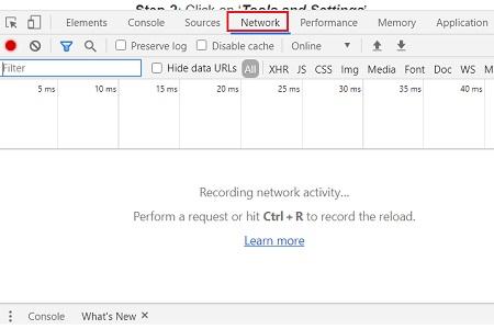 google developer console window network tab