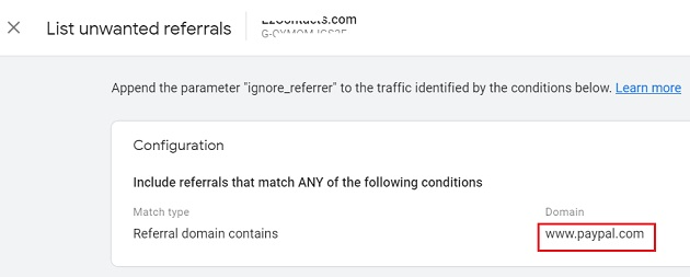 list unwanted referrals