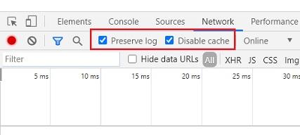 preserve log disable cache
