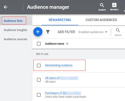 remarketing audience google analytics 4