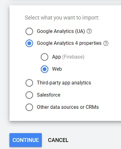 select what you want to import google ads