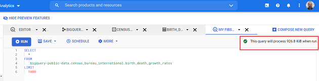 BigQuery tells you in advance how much data your query will process