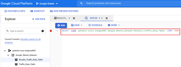 BigQuery will automatically create a SQL statement for you