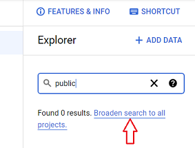Broaden search to all projects bigquery