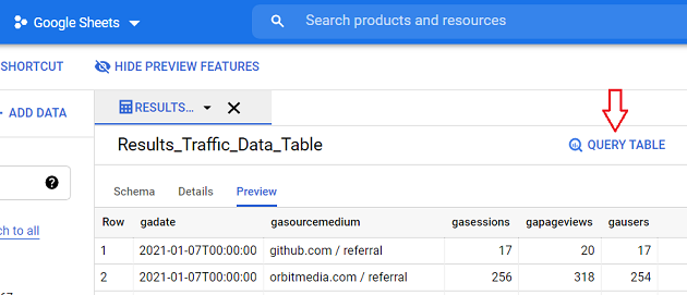 Click on the QUERY TABLE button