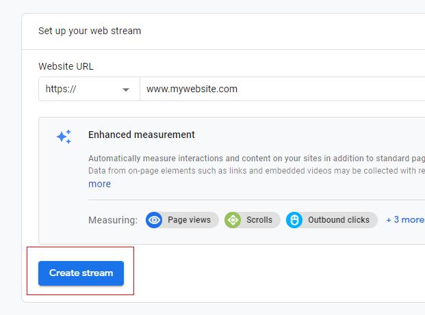 Create stream button