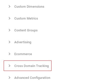 Cross domain tracking setting