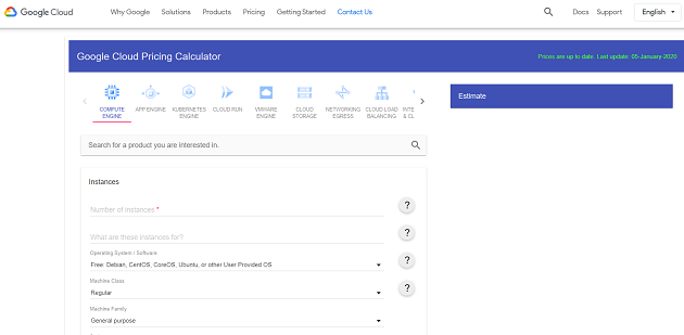 Google Cloud pricing calculator