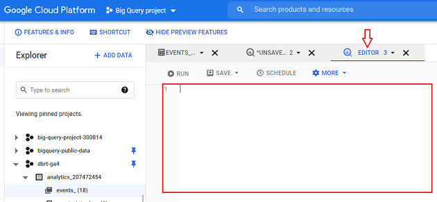 Here is what the empty SQL editor looks like in BigQuery