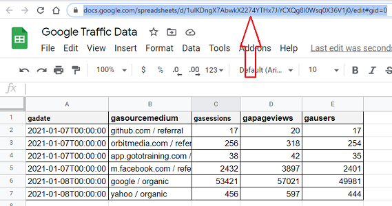Navigate to the Google Sheets whose data you want to send to BigQuery
