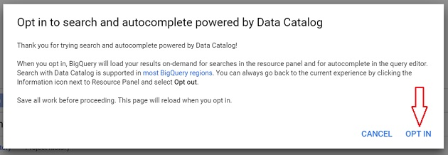 Opt in to search and autocomplete powered by Data Catalog 1