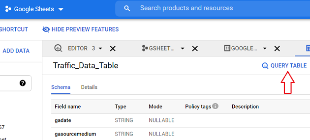 QUERY TABLE