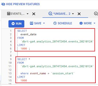 Querying Google Analytics data in BigQuery