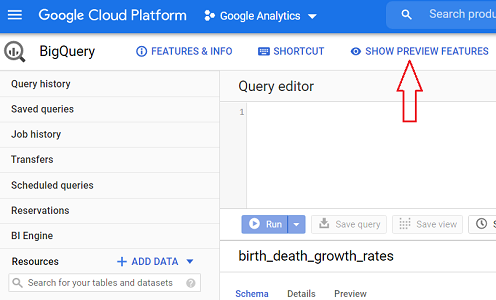 SHOW PREVIEW FEATURES bigquery