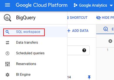 SQL workspace bigquery