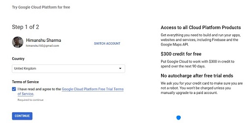 Select your billing country bigquery